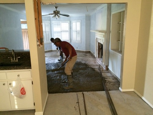 Filling sunken living room with concrete