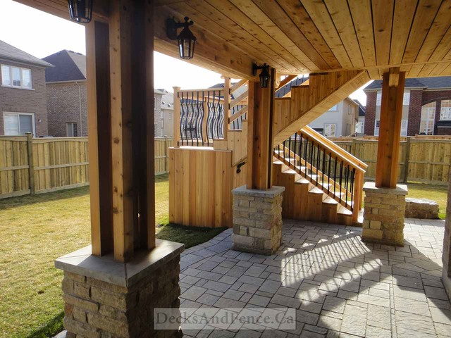 2 Level Cedar Deck With Walkout Basement And Pergola