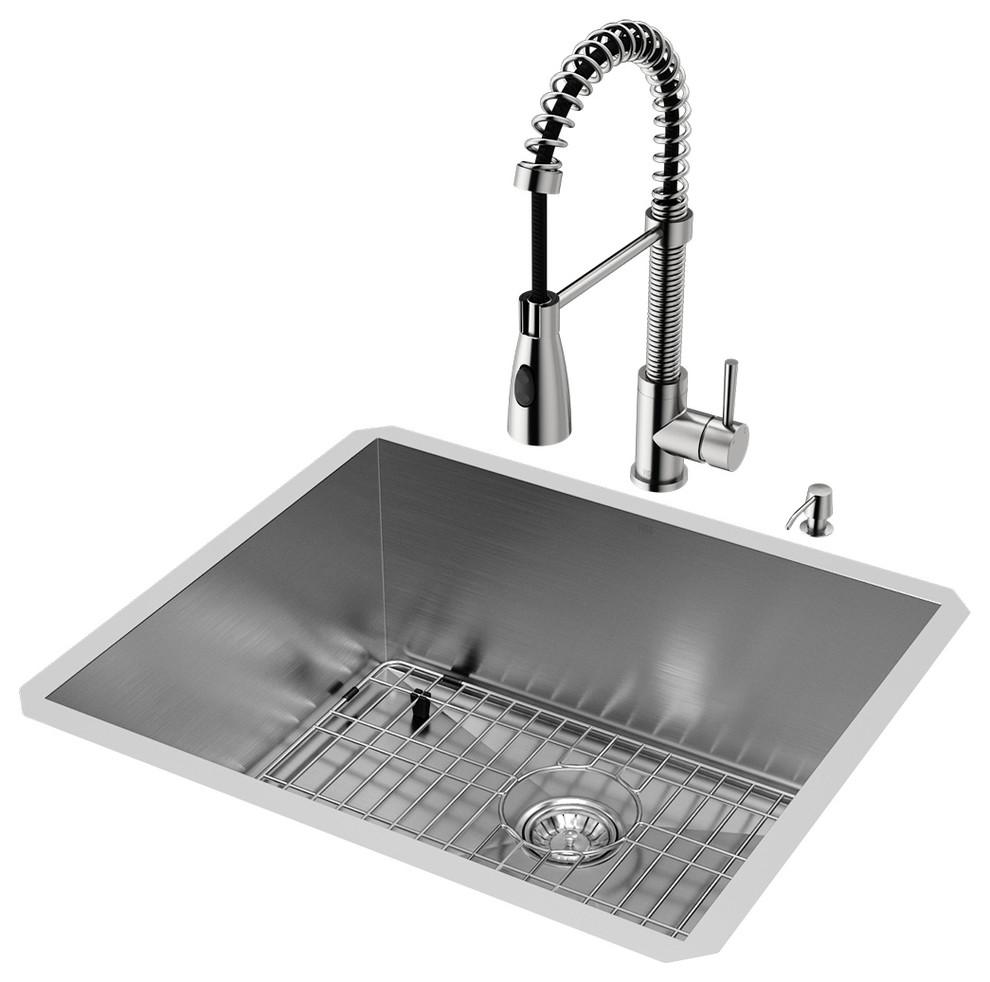 Vigo All In One 23 X20 Ludlow Stainless Steel Undermount Kitchen Sink Set