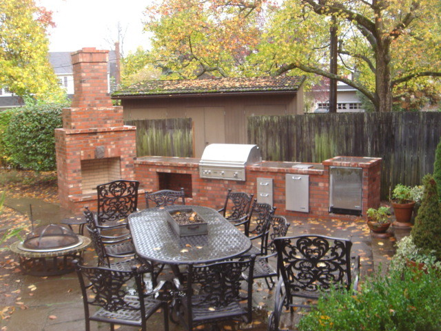 Outdoor Fireplace With Outdoor Kitchen Traditional Portland By Brown Br