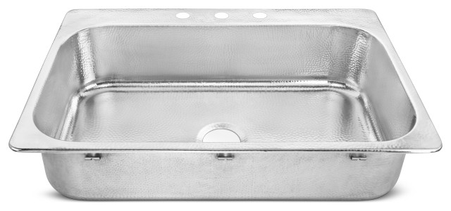 """Graham Drop-In Crafted Stainless 33"""" Kitchen Sink, Polished Stainless Steel"""