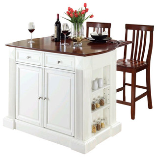 Crosley Coventry Drop Leaf Breakfast Bar Kitchen Island with Stools - Kitchen Islands And ...