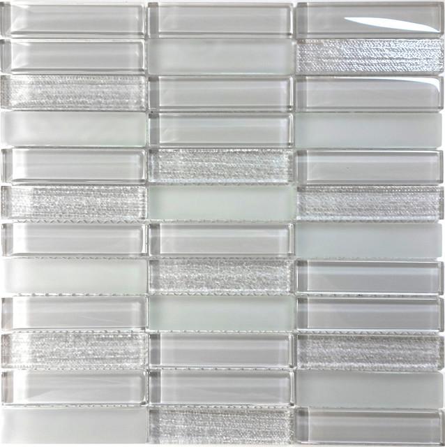 Gray Glass Texture Matte Glass Mosaic Tile Wall Backsplash