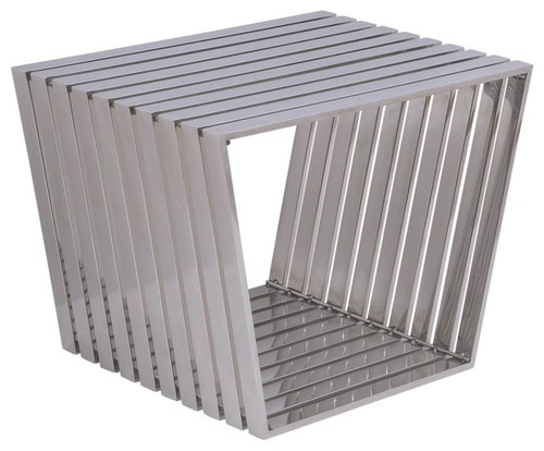 Modern Stainless Steel Trapezium Bench in Silver