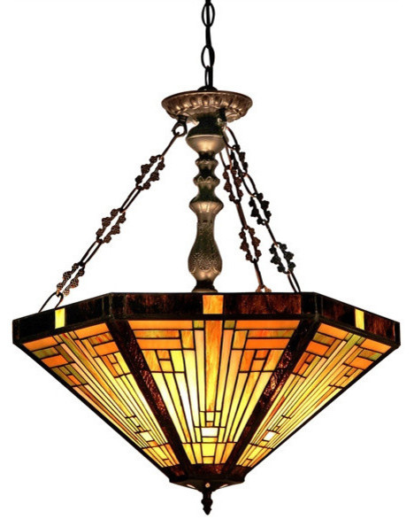 Innes Tiffany Style 3 Light Mission Inverted Ceiling Pendant Fixture 22inches Sh Craftsman Pendant Lighting By Modern Decor Home