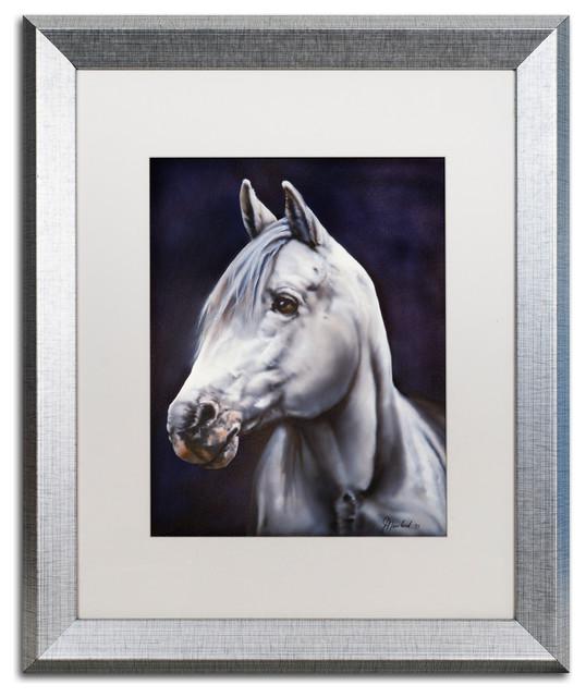 Vintage Horse//White Arabian Stallion//Equestrian Art Print//Poster//16x20 inch