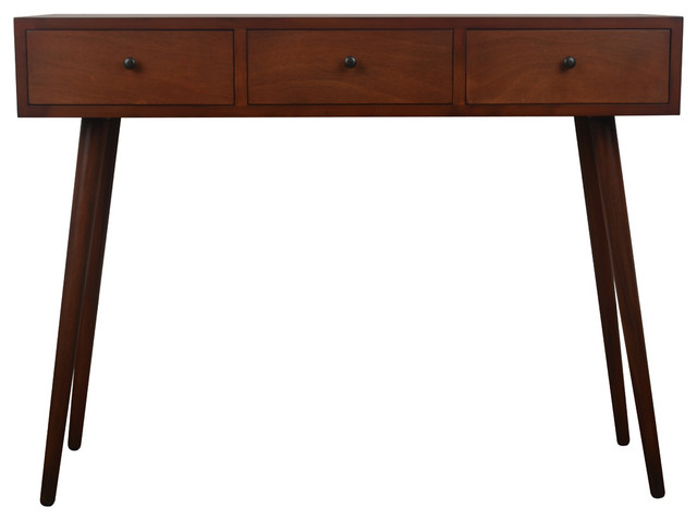Mid Century Three Drawer Wood Console Table - Midcentury - Console ...