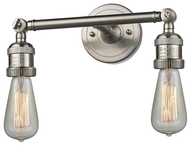 "Satin Nickel Ceiling Lights Bathroom Vanity Chandelier: Brushed Satin Nickel 2-Light Bare Bulbs 11"" Bath"