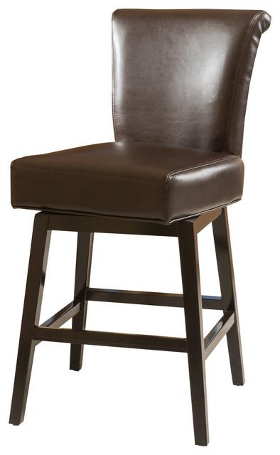 Bergen Dark Brown Leather Swivel Counter Stool.