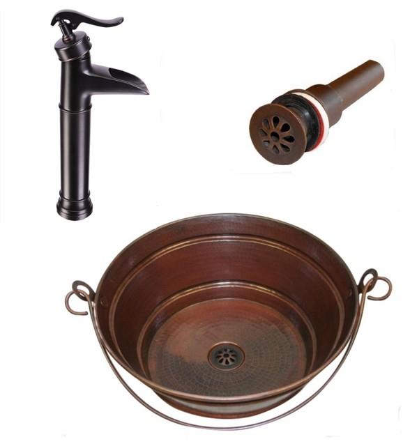 Round Copper Bucket Vessel Bath Sink