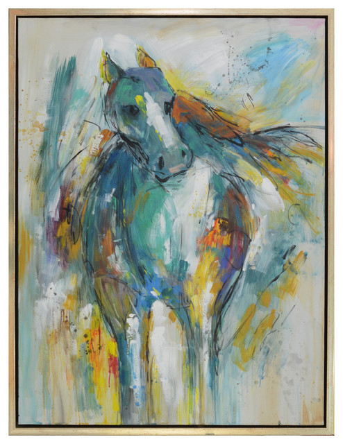 """Tess Framed Canvas Art, Small, Hand Painted Horse Abstract, 1.5"""" Frame."""