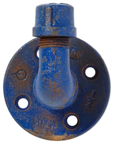 Rustic Industrial Pipe Hook, Cobalt