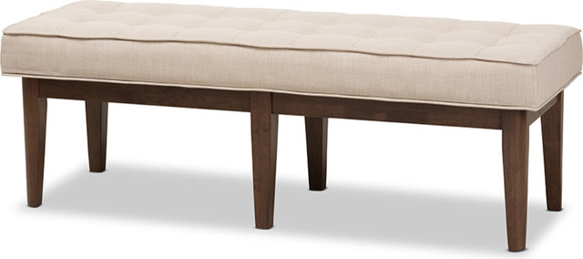 Lucca Mid-Century Modern Walnut Wood Light Beige Fabric Button-Tufted Bench. -1