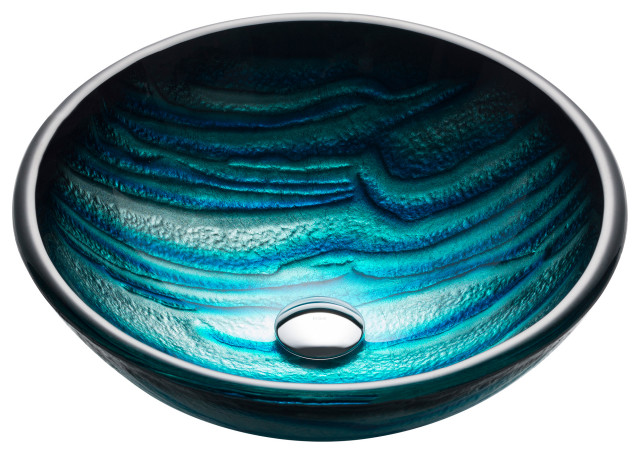 "Nature Series 17"" Round Blue Glass Vessel 19mm Bathroom Sink"