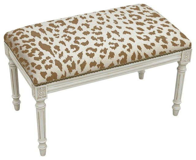 Cheetah Linen Bench, Caramel.