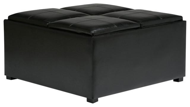Strange Simpli Home Avalon Faux Leather Coffee Table Storage Ottoman In Black Frankydiablos Diy Chair Ideas Frankydiabloscom