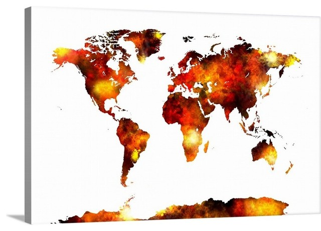 World Map Watercolor Wrapped Canvas Art Print, 18\