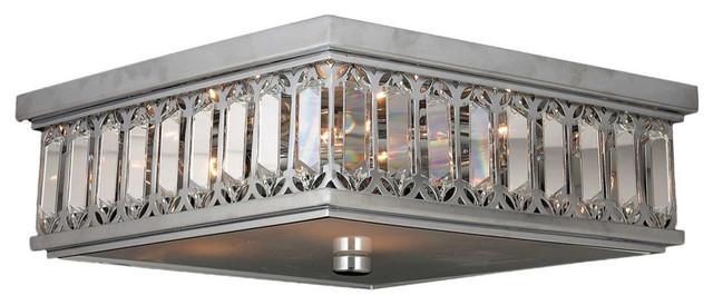 Glamorous 6-Light Full Lead Crystal Chrome Finish Flush Mount Ceiling.