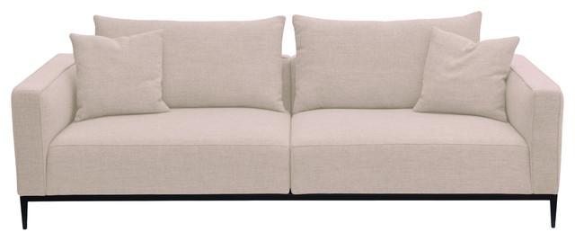 California Sofa Stainless Steel Base Cream Tweed