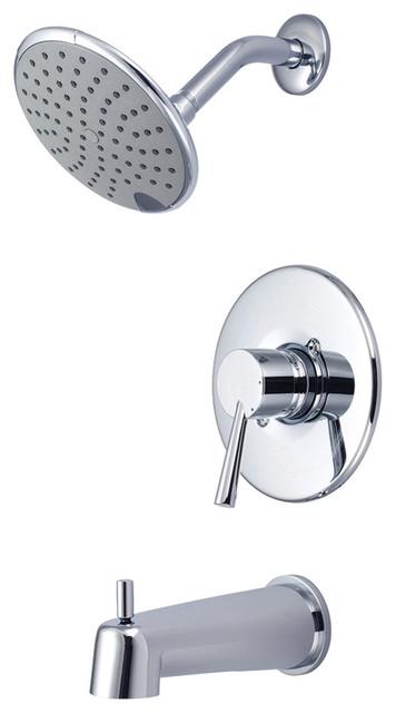 Single Handle Tub Shower Trim Set Polished Chrome Contemporary