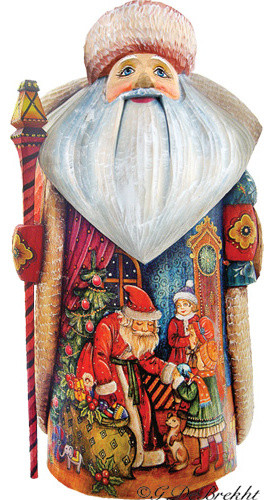 Christmas Gift Giving Father Frost Santa, Woodcarved Figurine.