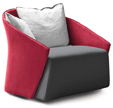Bustier Armchair, Red/Gray