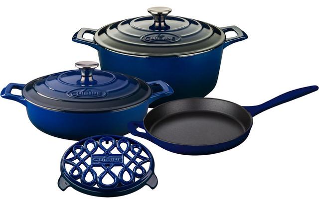 6-Piece Enameled Cast Iron Cookware Set, Round Casserole/trivet, Blue.