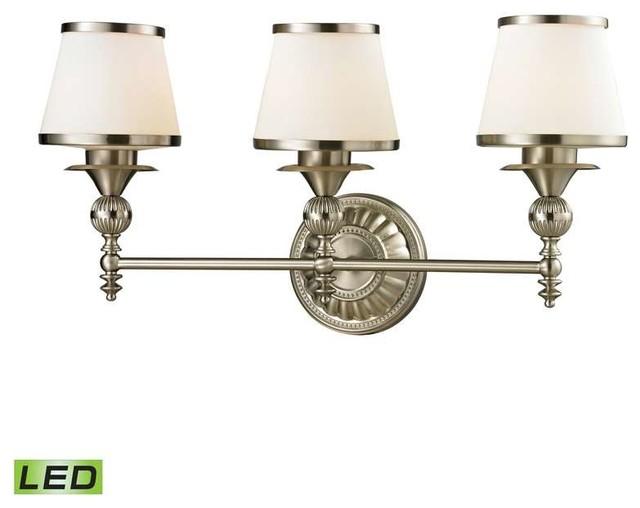 Elk Lighting 11602/3-Led Smithfield Traditional Bathroom Light In Brushed Nickel.