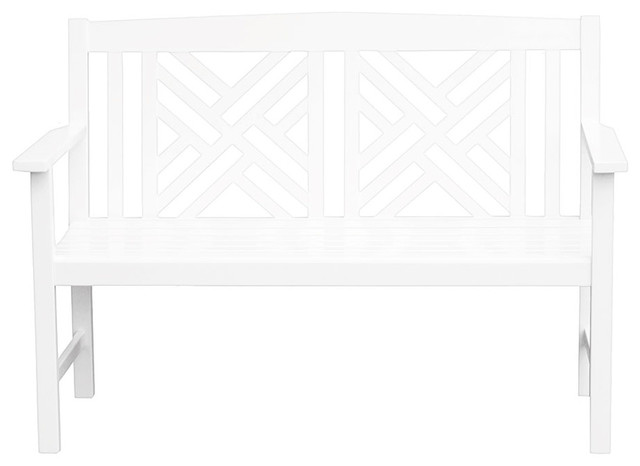 Mary Wooden Fretwork Bench, White.