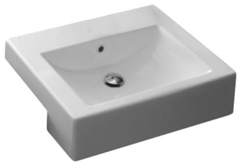 Square White Ceramic Semi-Recessed Sink, No Hole.