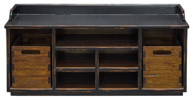 Luxe Mahogany Storage Bin Bench Seat, Solid Wood Dark Accent Toy Hobby - Transitional - Accent ...