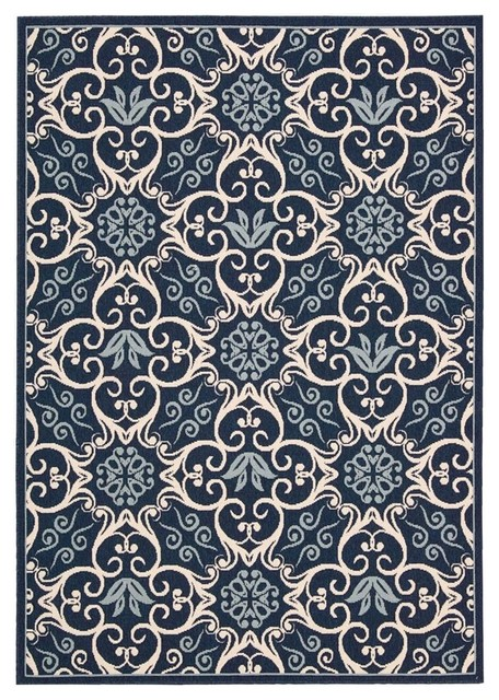 Nourison Caribbean Crb02 Ivory Navy Rug Contemporary