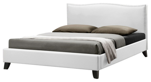 Baxton Studio Battersby White Modern Bed With Upholstered Headboard, Queen.