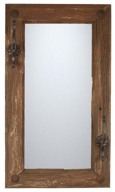 Old Door Rustic Mirror With Hooks. -1