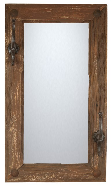 Wall Mirror With Hooks old door rustic mirror with hooks - rustic - wall mirrors -