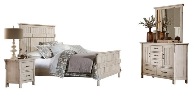 4-Piece Tanhill Rustic Queen Bed, Dresser, Mirror, 1 Nightstand Reclaim White.
