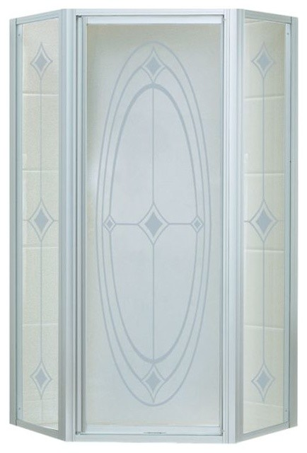 "Intrigue 27.563""x72"" Neo-Angle Shower Door, Silver/Ellipse Glass"