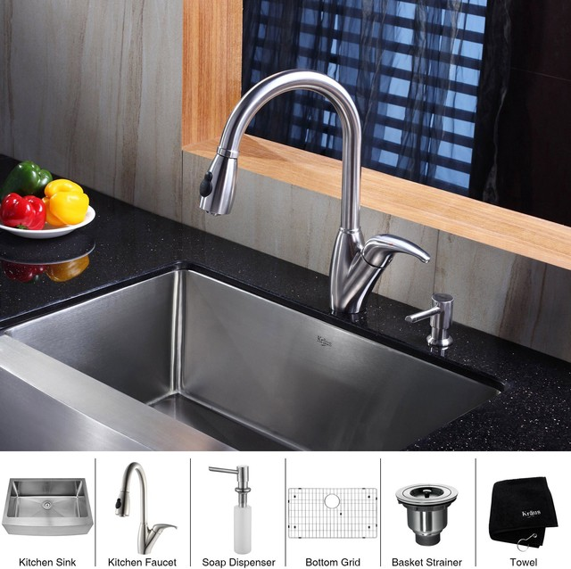 Franke Kitchen Sink Accessories : Kraus 30 inch Farmhouse Single Bowl Stainless Steel Kitchen Sink with ...