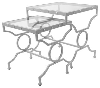 Nesting Tables, 2-Piece Set, Silver With Tempered Glass