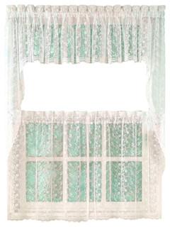 shop houzz linens4less priscilla lace ivory kitchen