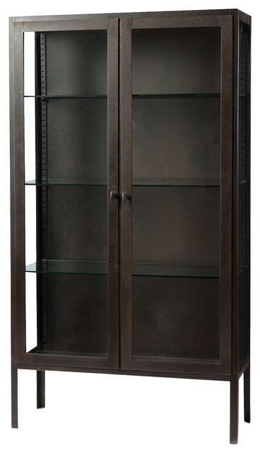 Paulson Modern Industry Antique Iron Glass Display Cabinet.