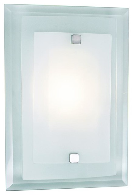 One Light Polished Chrome Clear Wall Plate Frosted Cover Gl Liight