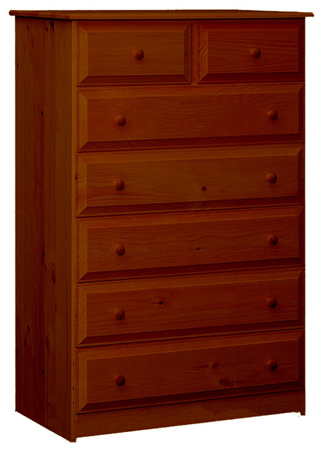 Riverdale Beveled Edge Chest With Seven Drawers, Antique Cherry.