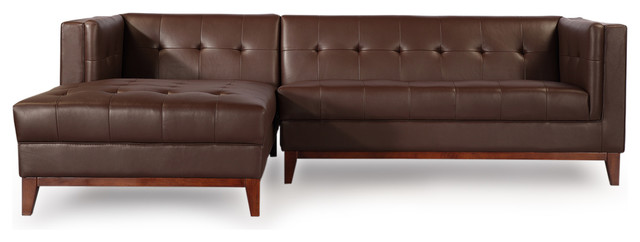Harrison Aniline Leather Loft Sofa Chaise Sectional, Deep Brown, Left Facing.