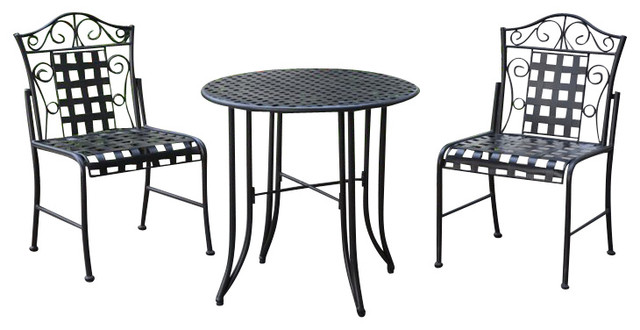 Mandalay Wrought Iron 3 Piece Bistro Set Mediterranean Outdoor Pub And