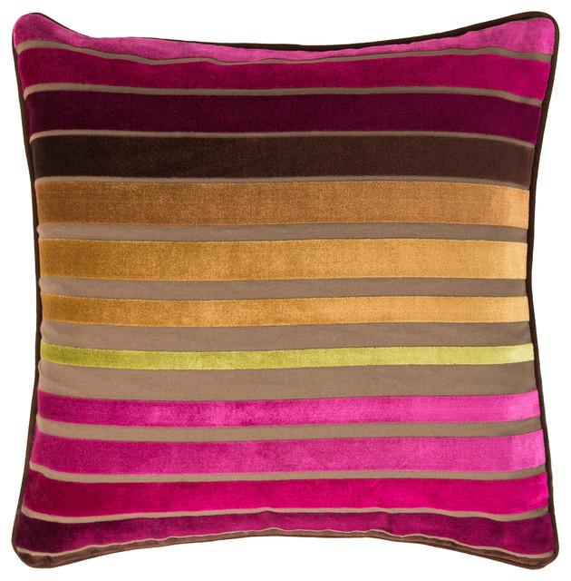 Velvet Stripe Pillow 18x18x4, Polyester Fill.
