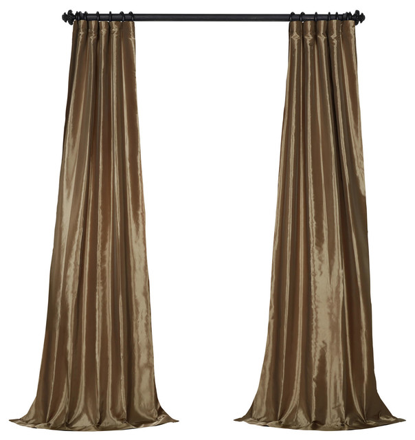 "Mushroom Fauxsilk Taffeta Curtain Single Panel, 50""x84""."
