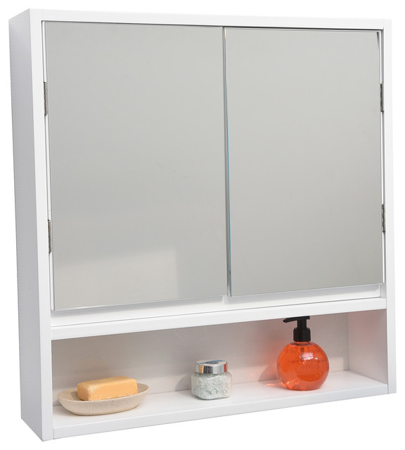 Miami Wall Mounted Mirrored Medicine Cabinet White 2 Doors, 1 Shelf.