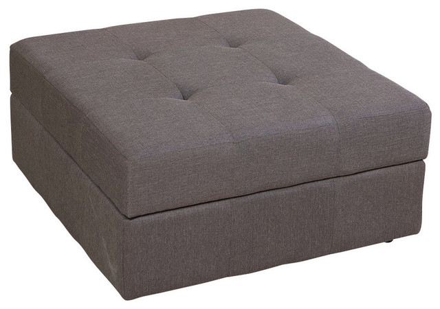 GDF Studio Chatsworth Tufted Fabric Storage Ottoman with Rolling Casters