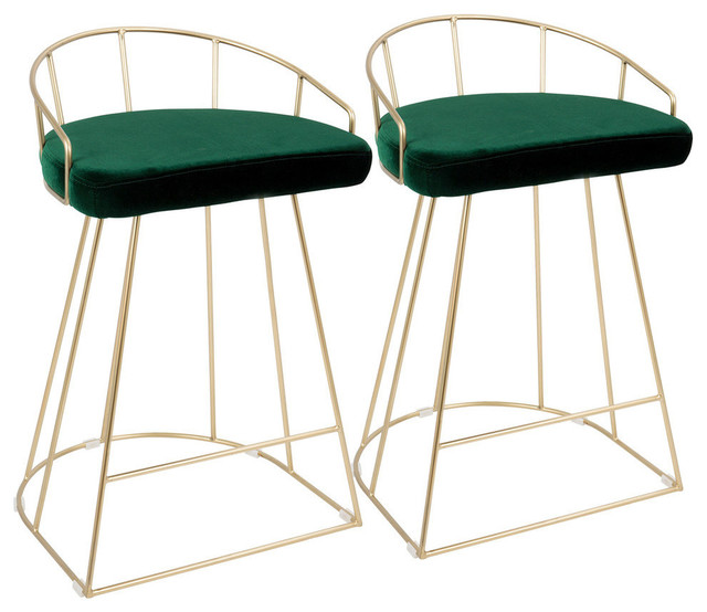 """LumiSource Canary 26"""" Counter Stool, Gold and Green Velvet, Set of 2"""